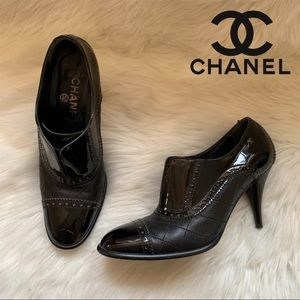 Auth. CHANEL Quilted Perforated CC Logo Booties